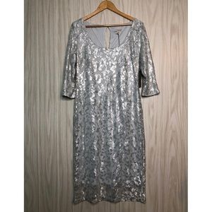 Eva Mendes New York & Co Sequins Lace Silver Dress